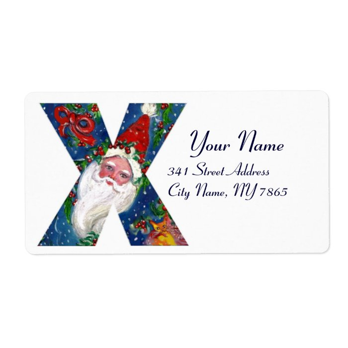 CHRISTMAS X LETTER / SANTA CLAUS WITH RED RIBBON LABEL