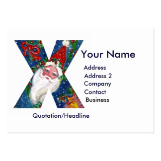 CHRISTMAS X LETTER / SANTA CLAUS WITH RED RIBBON LARGE BUSINESS CARDS (Pack OF 100)