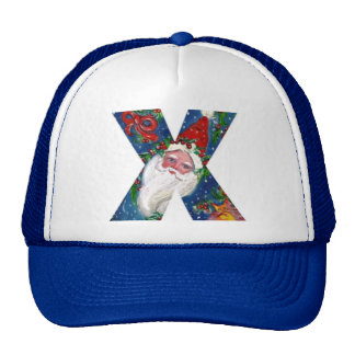 CHRISTMAS X LETTER / SANTA CLAUS WITH RED RIBBON TRUCKER HAT