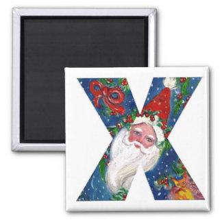 CHRISTMAS X LETTER / SANTA  RED RIBBON MONOGRAM 2 INCH SQUARE MAGNET