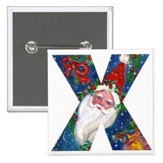 CHRISTMAS X LETTER / SANTA  RED RIBBON MONOGRAM PINBACK BUTTON