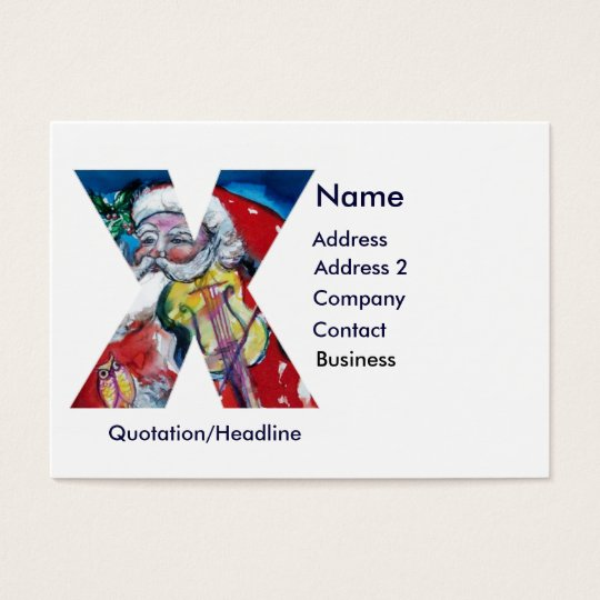 CHRISTMAS X LETTER  / SANTA  WITH VIOLIN MONOGRAM BUSINESS CARD