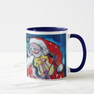 CHRISTMAS X LETTER / SANTA  WITH VIOLIN MONOGRAM MUG