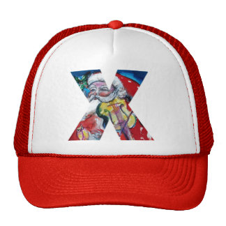 CHRISTMAS X LETTER  / SANTA WITH VIOLIN MONOGRAM TRUCKER HAT
