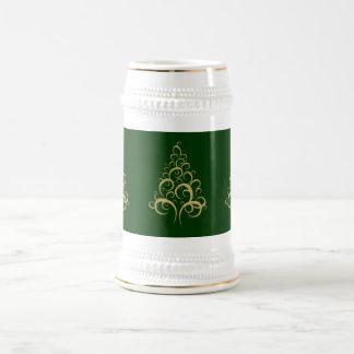 Christmas xmas beer stein elegant gold tree coffee mug