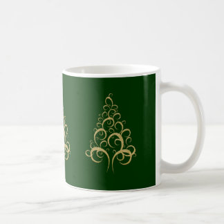 Christmas xmas gold elegant tree personal office classic white coffee mug