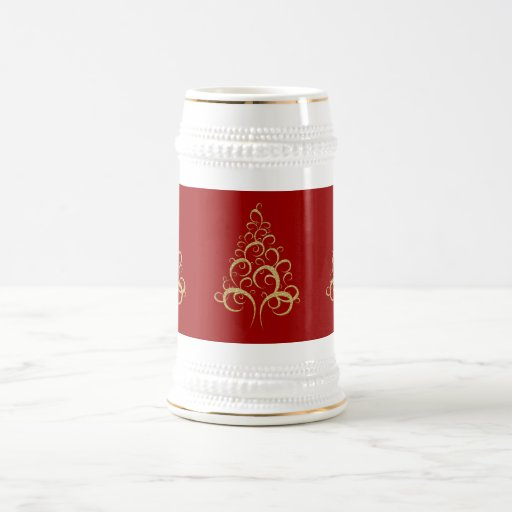 Christmas xmas gold elegant tree personal office 18 oz beer stein