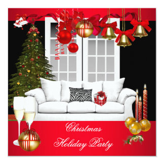 Christmas Xmas Holiday Party Red White Balls Card