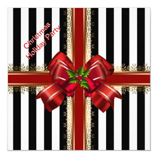 Christmas Xmas Holiday Party Red White Stripe Card at Zazzle
