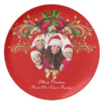 Christmas Xmas Photo Template 3 children family Melamine Plate