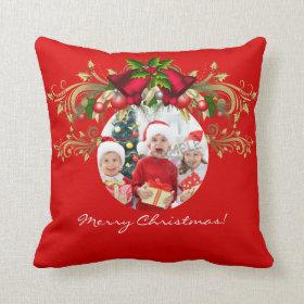 Christmas Xmas Photo Template 4 children family Pillows