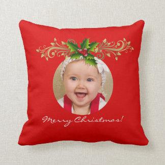 Christmas Xmas Photo Template Baby family Throw Pillow