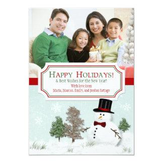 Christmas Xmas Snowman Holiday Photo Greeting Card