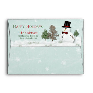 Christmas Xmas Winter Snowman A7 Return Address Envelope