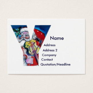 CHRISTMAS Y LETTER  / SANTA  WITH VIOLIN MONOGRAM BUSINESS CARD