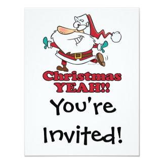 christmas YEAH funny dancing santa cartoon Card