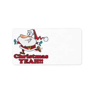 christmas YEAH funny dancing santa cartoon Address Label