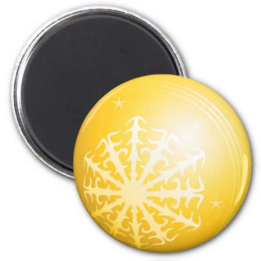 Christmas Yellow Bubble Snowflake & Stars Magnets