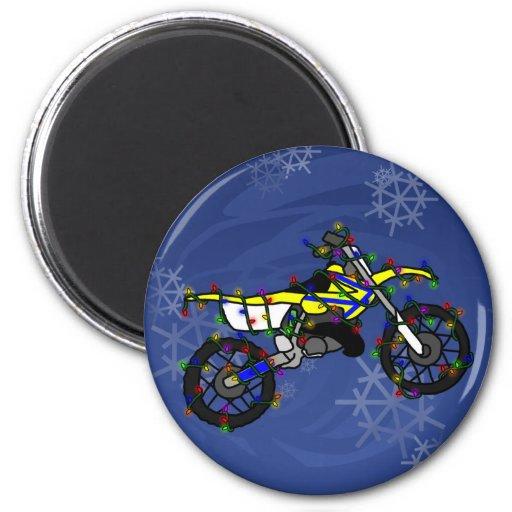 Christmas Yellow Dirt Bike 2 Inch Round Magnet