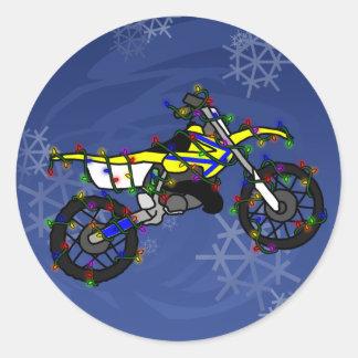 Christmas Yellow Dirt Bike Round Stickers