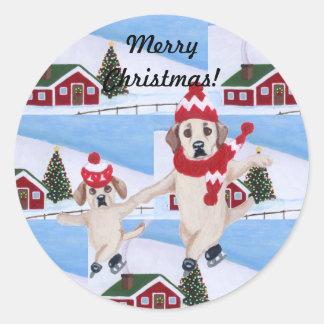 Christmas Yellow Labrador Fun Painting Classic Round Sticker
