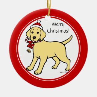 Christmas Yellow Labrador Puppy Cartoon Double-Sided Ceramic Round Christmas Ornament