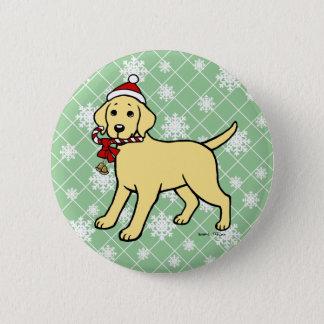 Christmas Yellow Labrador Puppy Cartoon Pinback Button