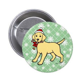 Christmas Yellow Labrador Puppy Cartoon Pinback Button
