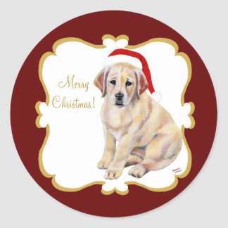 Christmas Yellow Labrador Puppy Classic Round Sticker