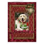 Christmas - Yellow Labrador - Strider Greeting Card