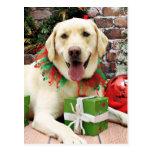 Christmas - Yellow Labrador - Strider Post Cards