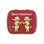 Christmas Yellow Labradors Cartoon Jelly Belly Candy Tin