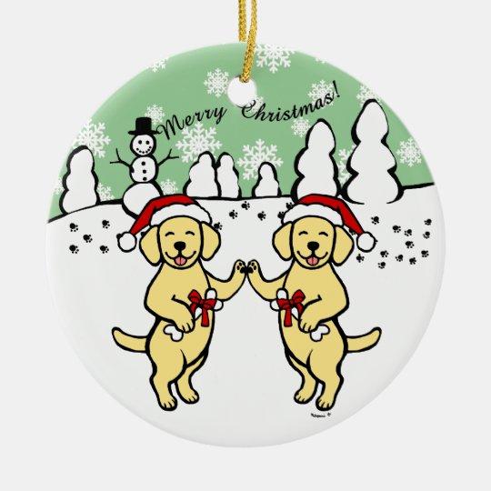 Christmas Yellow Labradors Cartoon Ceramic Ornament