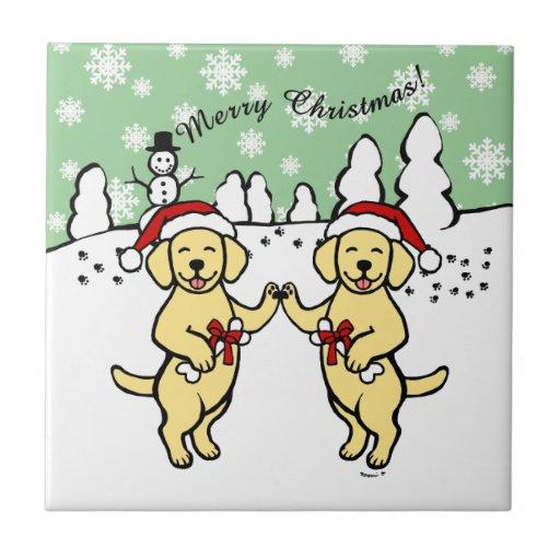 Christmas Yellow Labradors Cartoon Ceramic Tile