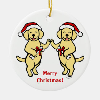Christmas Yellow Labradors Cartoon Double-Sided Ceramic Round Christmas Ornament