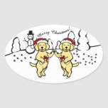 Christmas Yellow Labradors Cartoon Oval Sticker