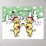 Christmas Yellow Labradors Cartoon Print