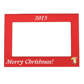 Christmas Yellow Penguin with Blue Ice Skates Magnetic Frame