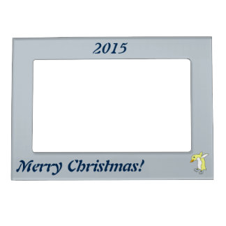 Christmas Yellow Penguin with Blue Ice Skates Magnetic Photo Frame
