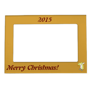 Christmas Yellow Penguin with Blue Ice Skates Magnetic Picture Frame