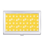Christmas yellow snowflakes pattern business card cases