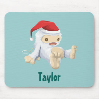 Christmas Yeti Doll in a Santa Hat Personalized Mouse Pad