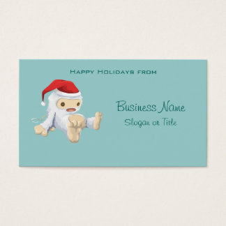 Christmas Yeti Doll Wearing a Santa Hat Business Card