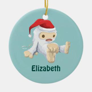 Christmas Yeti Doll Wearing a Santa Hat Ceramic Ornament