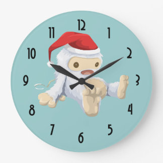 Christmas Yeti Doll Wearing a Santa Hat Large Clock