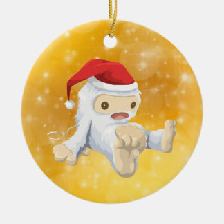 Christmas Yeti Doll with Gold Bokeh Background Ceramic Ornament
