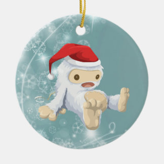 Christmas Yeti Doll with Snowflake Background Ceramic Ornament