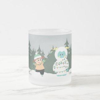 Christmas Yeti Frosted Glass Coffee Mug