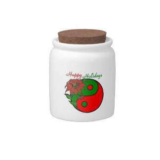 Christmas Yin Yang Poinsettia Candy Jars