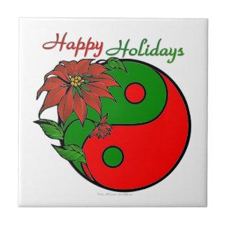 Christmas Yin Yang Poinsettia Ceramic Tiles